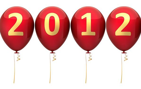 Картинка шарики, фон, новый год, 2012