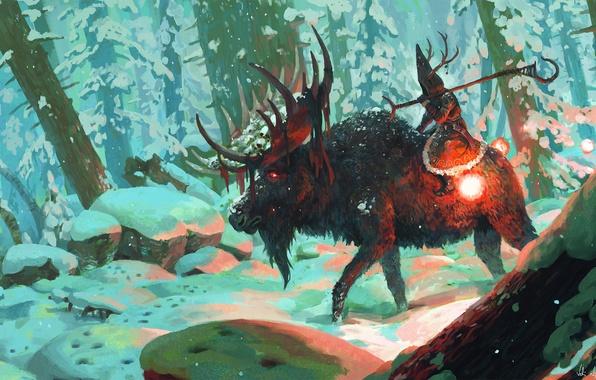 Картинка зима, лес, снег, деревья, посох, лось, шаман