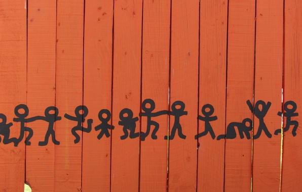 Картинка рисунок, забор, танец, человечки, танцующие человечки
