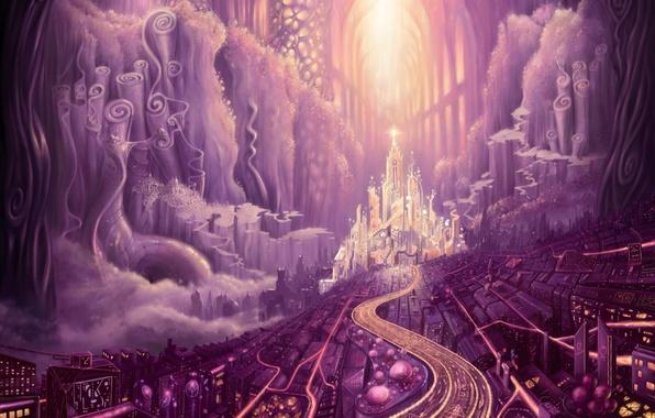 Картинка дорога, город, перспектива