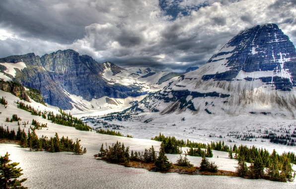 Картинка фото, Природа, Зима, Горы, Снег, Канада, Парк, Банф