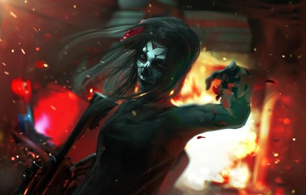 Картинка девушка, взрыв, лицо, череп, арт, автомат, убийца, Dia de los Muertos
