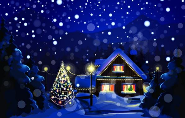 Картинка зима, снег, пейзаж, ночь, природа, праздник, елка, дома, Новый Год, Рождество, Christmas, New Year, елочные