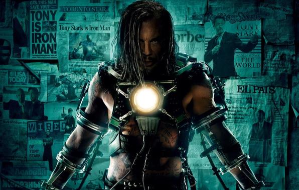 Фото обои энергия, газеты, Железный человек 2, Iron Man 2, Ivan Vanko, Mickey Rourke, Микки Рурк