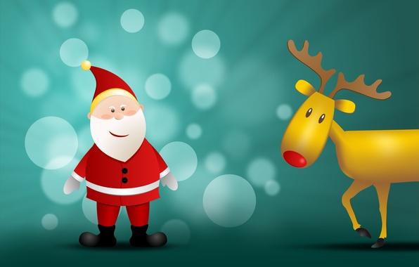 Картинка праздник, графика, новый год, рождество, олень, ёлка, christmas, new year, санта клаус, дед мороз, боке