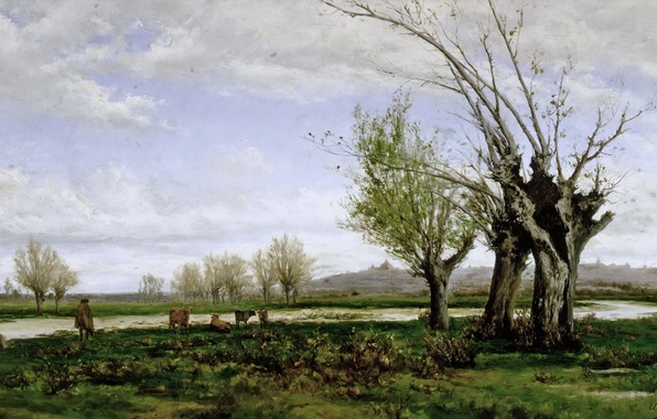 Картинка осень, пейзаж, река, дерево, корова, картина, пастух, Aureliano de Beruete y Moret, Берег реки Мансанарес