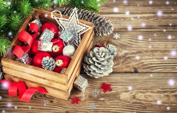 Картинка снег, украшения, шары, елка, Новый Год, Рождество, Christmas, wood, decoration, Merry