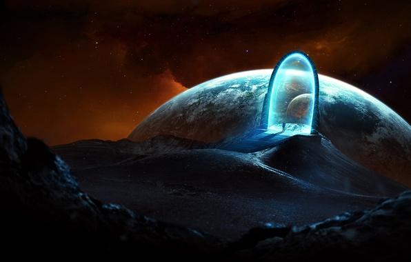 Картинка космос, свет, человек, портал