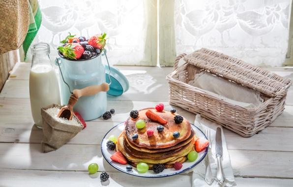 Картинка ягоды, завтрак, молоко, блины, выпечка, berries, breakfast, milk, pancakes