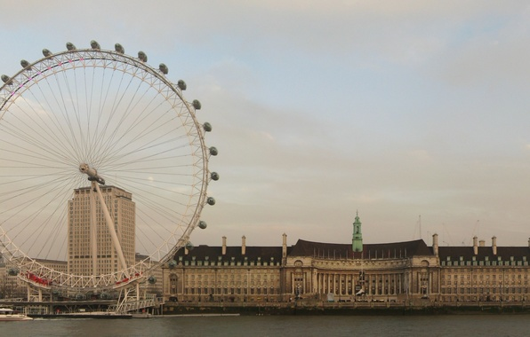 Картинка Англия, Лондон, Вода, Дома, Фото, Город, Река, Колесо, Берег, Здания, Темза, London, Лондонский глаз, London …