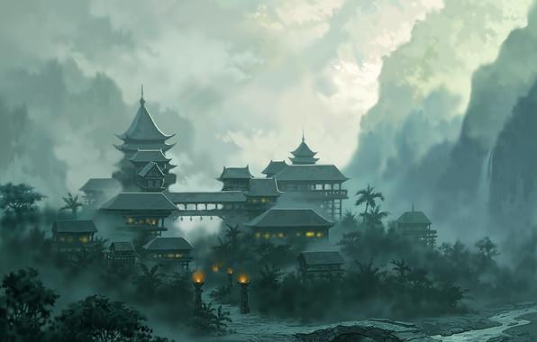 Картинка пейзаж, горы, мост, город, огни, туман, река, jade dynasty