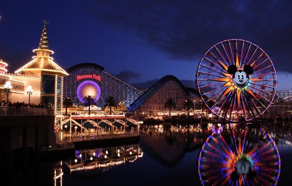 Картинка California, мики маус, атракционы, Disney California Adventure, Disneyland Resort, Paradise Pier, американские горки
