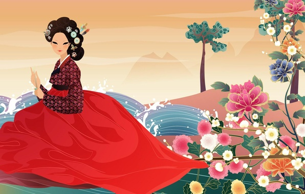 Картинка вода, девушка, цветы, веер, арт, азиатка, ханбок