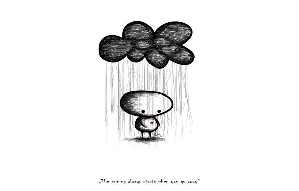 Картинка дождь, настроения, сердце, человек, слова, фраза, выражение, mood