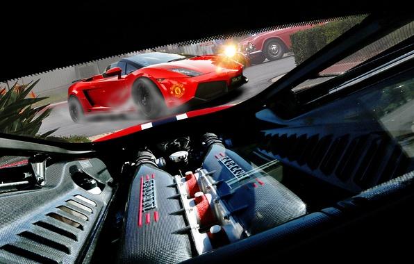 Картинка car, двигатель, мощь, турбина, Ferrari, red, photography, muscle, power, Nikita Nike