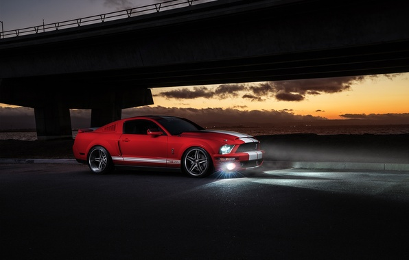 Картинка Mustang, Ford, Shelby, GT500, Muscle, Red, Car, Front, Sunset, Collection, Aristo