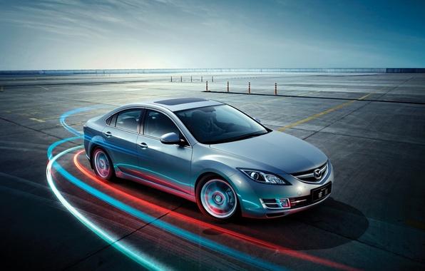 Картинка небо, Мазда, Mazda, передок, хетчбек, Hatchback