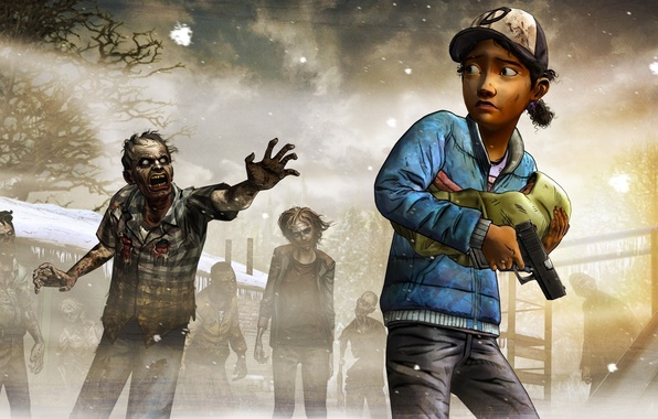 Картинка Взгляд, Оружие, Зомби, Ситуация, Telltale Games, A Telltale Games Series, Выжившие, Клементина, The Walking Dead: …