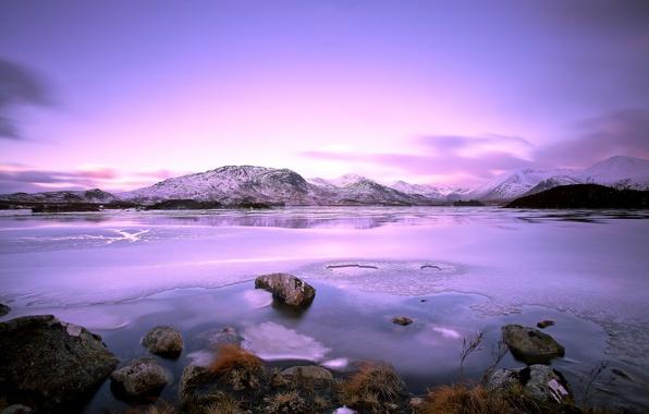 Картинка зима, небо, облака, снег, пейзаж, горы, природа, озеро