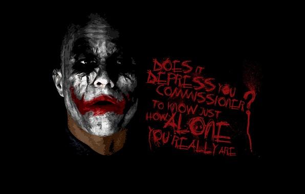 Картинка лицо, batman, надпись, бэтмен, Джокер, темный рыцарь, Joker, dark knight, Хит Лэджер