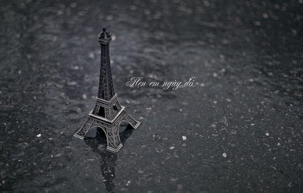 Картинка асфальт, вода, фон, дождь, земля, обои, настроения, эйфелева башня, париж, франция