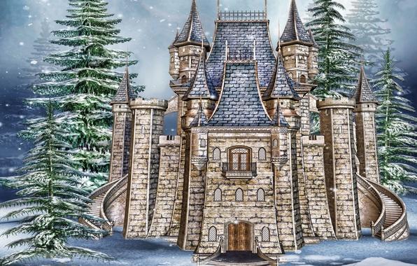 Картинка фото, Зима, Снег, Замок, Ель, Каменные, 3D Графика