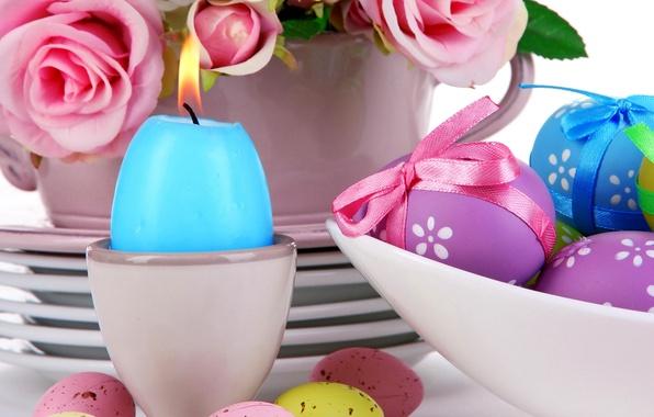 Картинка розы, яйца, пасха, pink, flowers, eggs, easter, roses, candle, сервировка, pastel