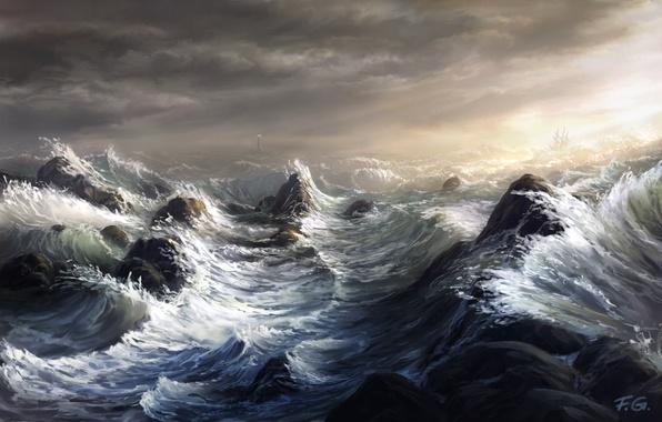 Картинка море, волны, шторм, скалы, маяк, корабль, парусник, арт, Fel-X, рифы