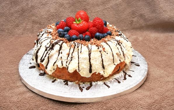 Картинка ягоды, малина, шоколад, черника, клубника, пирог, cake, выпечка, вкусно, sweet, глазурь, berries, strawberries, baked
