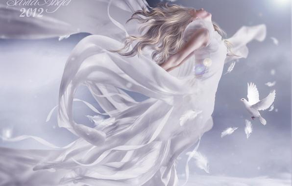 Картинка небо, девушка, облака, полет, птицы, белое, крылья, ангел, перья, блондинка, голуби