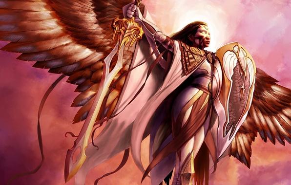 Картинка свет, Девушка, ангел, меч, щит