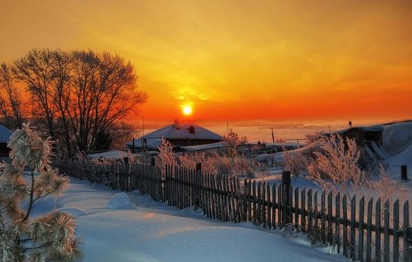 Картинка зима, закат, деревня