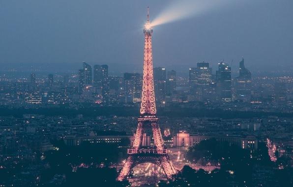 Картинка Франция, Париж, Дома, Огни, Город, Улица, City, Эйфелева башня, Paris, Сумерки, Streets, France, Lights, Освещение, ...