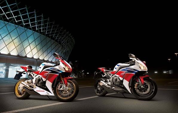 Картинка белый, ночь, мотоцикл, white, honda, хонда, cbr1000rr