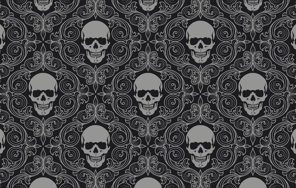 Картинка фон, стена, узор, цвет, череп, текстуры, орнамент