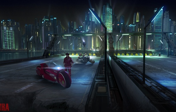 Картинка мост, будущее, фантастика, здания, небоскребы, шоссе, фонари, мотоцикл, руины, байк, киберпанк, постапокалиптика, Акира, Akira, Kaneda's …