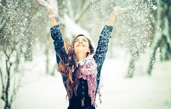 Картинка зима, девушка, снег, настроение