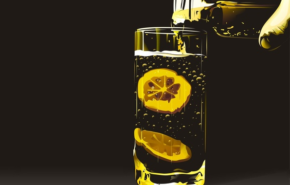 Картинка стакан, лимон, Вектор