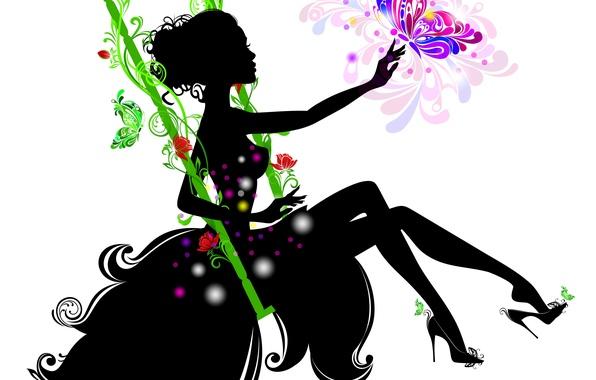 Картинка девушка, цветы, ресницы, качели, бабочка, рука, руки, платье, силуэт, белый фон