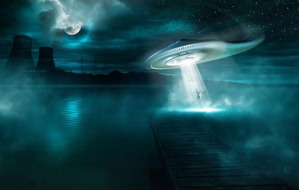 Картинка вода, звезды, ночь, трубы, туман, озеро, фантастика, дерево, луна, завод, нло, гора, ситуация, ufo, пирс, …