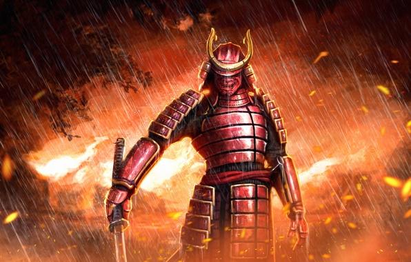 Картинка дождь, огонь, меч, катана, маска, самурай, доспех