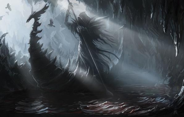 Картинка птицы, река, скалы, лодка, арт, вороны, переправа, Haron, Styx, Харон