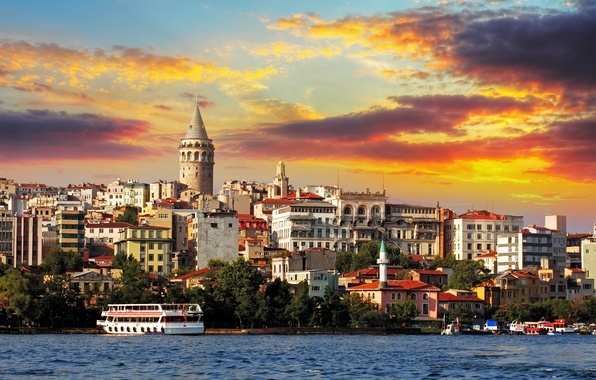 Картинка закат, city, город, корабль, паром, nature, sunset, Стамбул, Турция, Istanbul, природе, ship, buildings, turkey, зданий, …