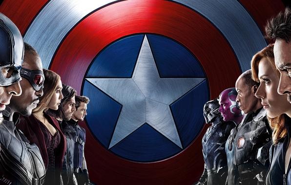 Картинка Scarlett Johansson, Vision, Iron Man, Falcon, Captain America, Black Widow, Robert Downey Jr., MARVEL, Hawkeye, …