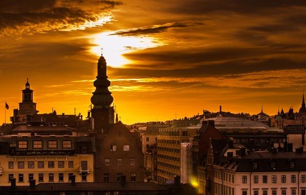 Картинка небо, солнце, свет, город, рассвет, здания, дома, утро, крыши, Стокгольм, Швеция, Sverige, Stockholm