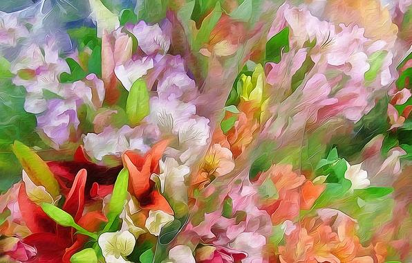 Картинка листья, цветы, рендеринг, рисунок, вектор, лепестки, луг, клумба