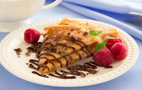 Картинка малина, еда, шоколад, фрукты, блины, десерт, food, chocolate, fruits, dessert, блинчики, pancakes, raspberries