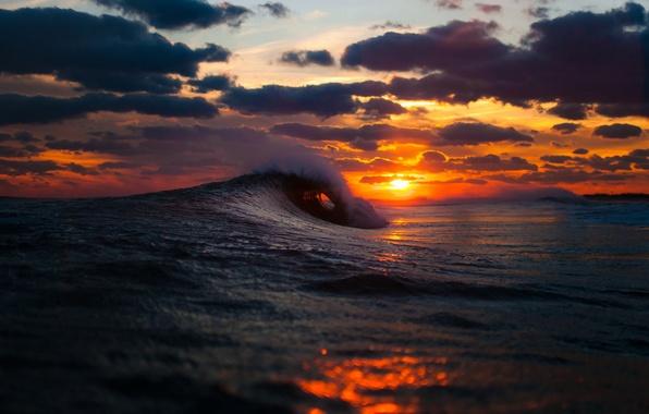 Картинка зима, море, волны, небо, солнце, облака, закат, океан, Benny Crum photography