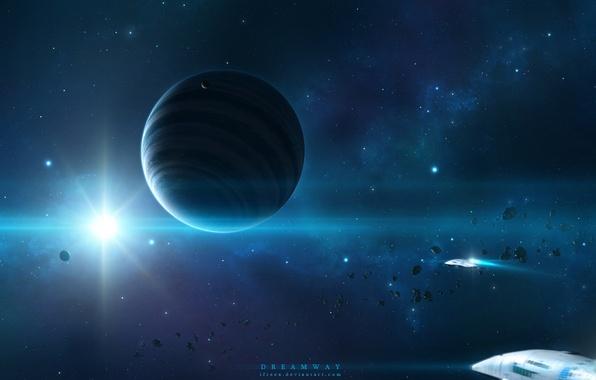 Картинка космос, звезда, арт, space, art, космические корабли, planet, starlight, планетв