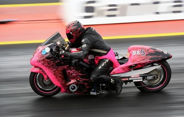 Картинка гонка, скорость, мотоцикл, байк, гонщик, drag racing